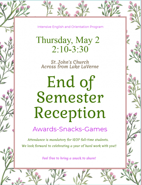 End of Semester Reception